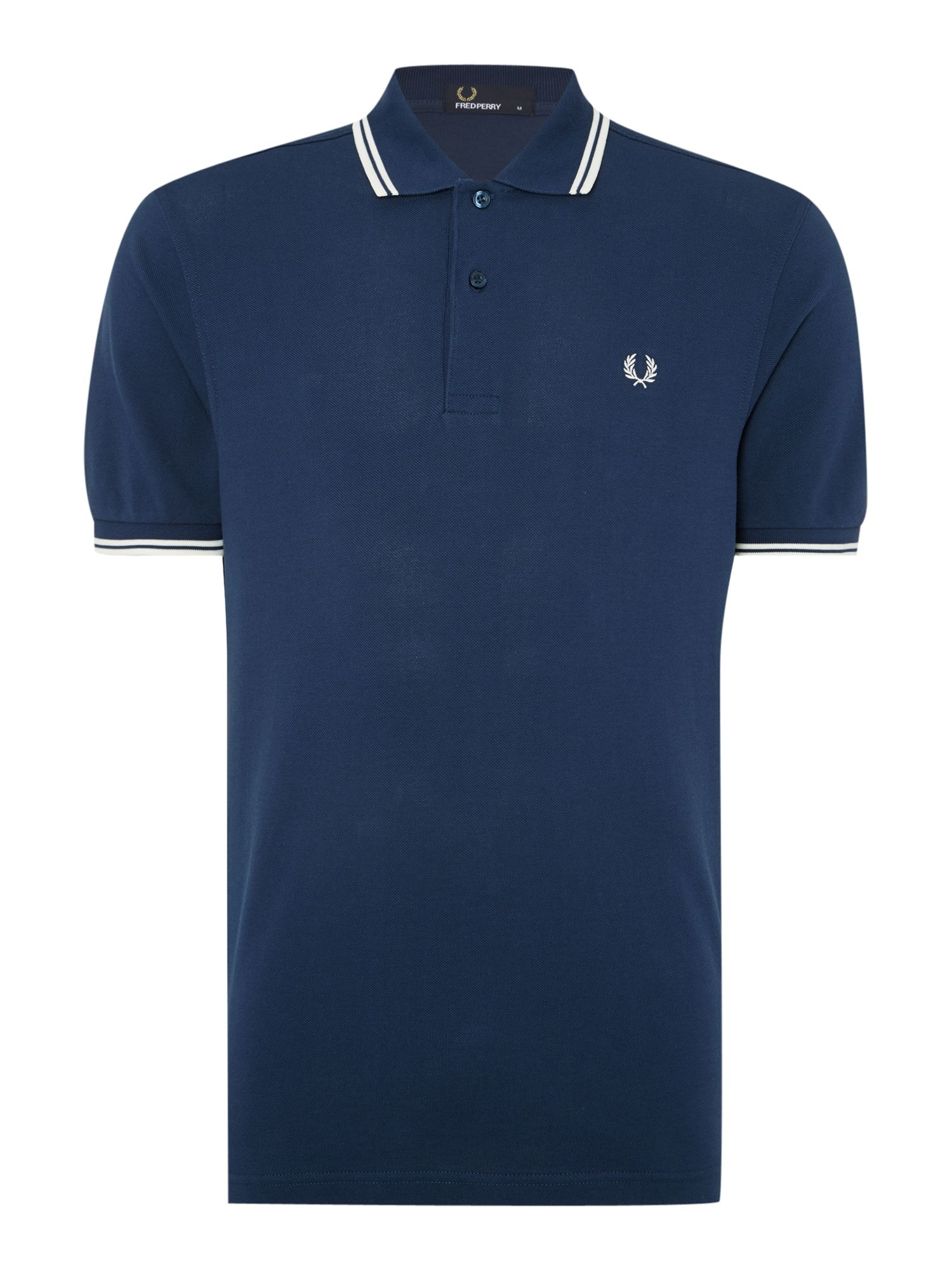Mens Fred Perry Twin Tipped Regular Fit Polo Shirt Dark Blue