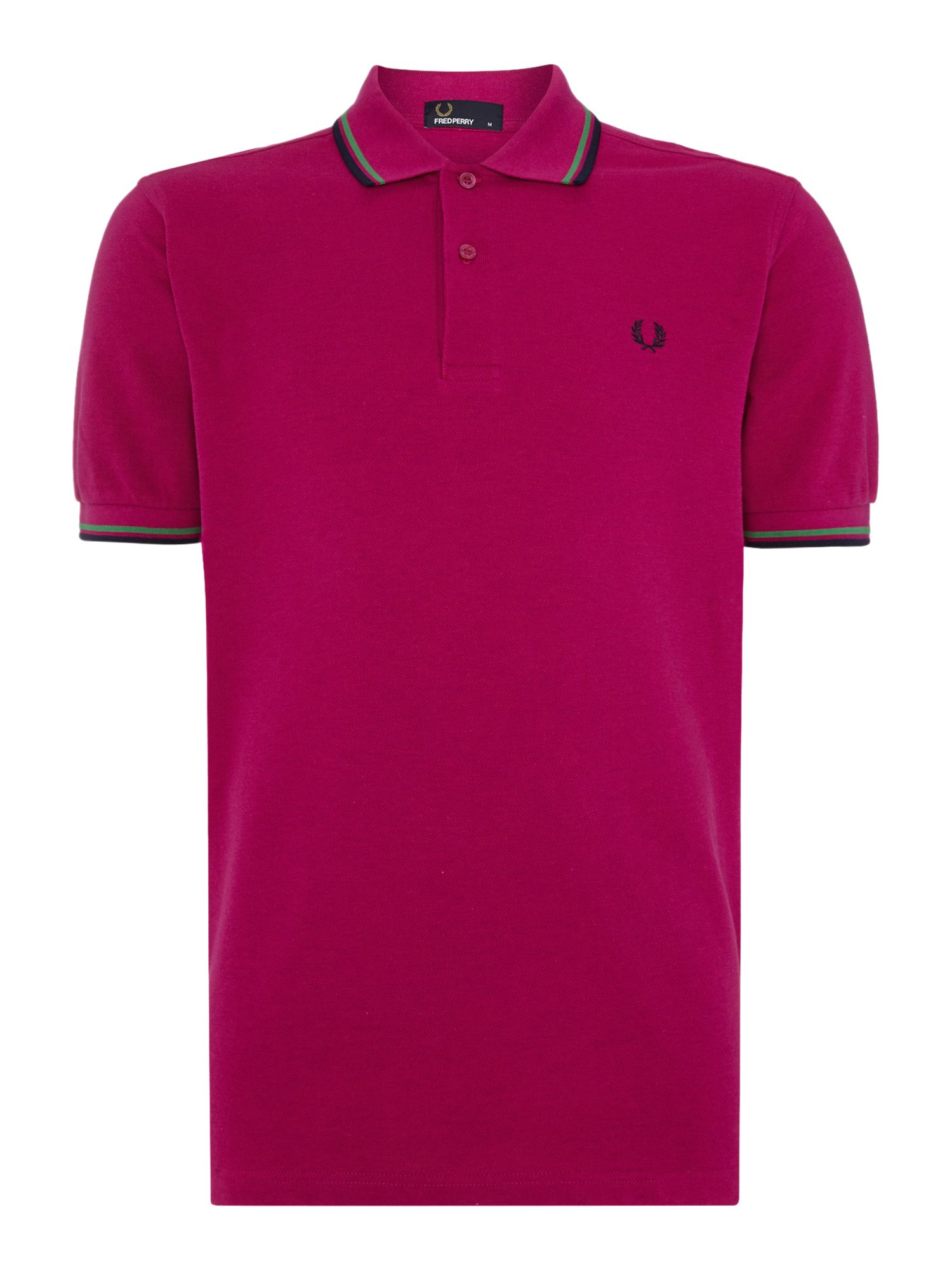 Mens Fred Perry Twin Tipped Regular Fit Polo Shirt Fuchsia