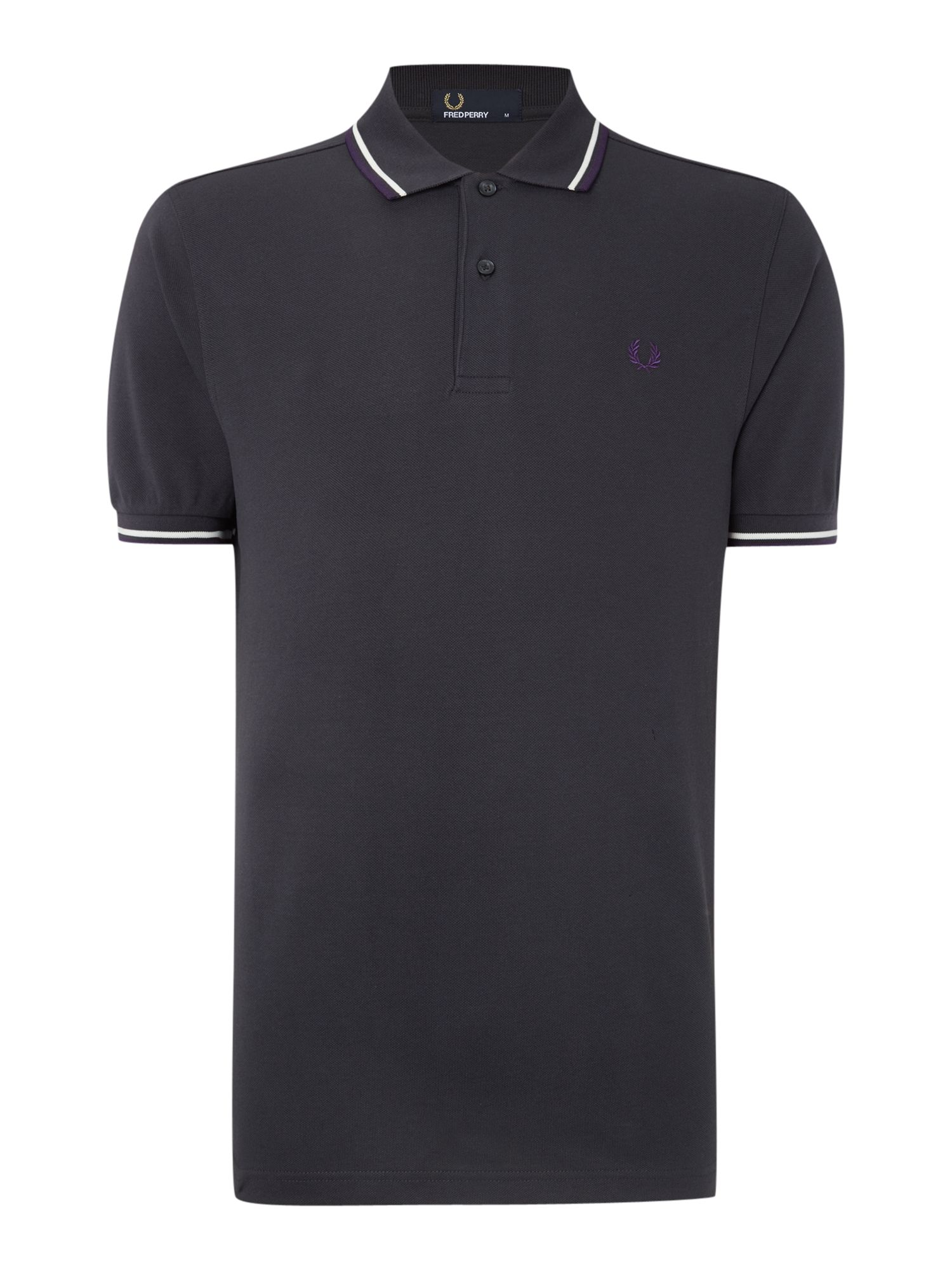 Mens Fred Perry Twin Tipped Regular Fit Polo Shirt Dark Grey