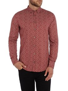 Hugo Boss Edipoe Slim Fit Floral print button down shirt