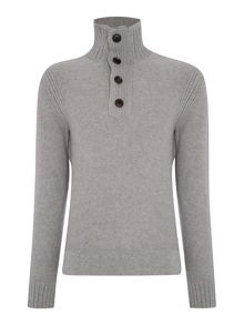 Ribbed Funnel Neck Button Jumpers