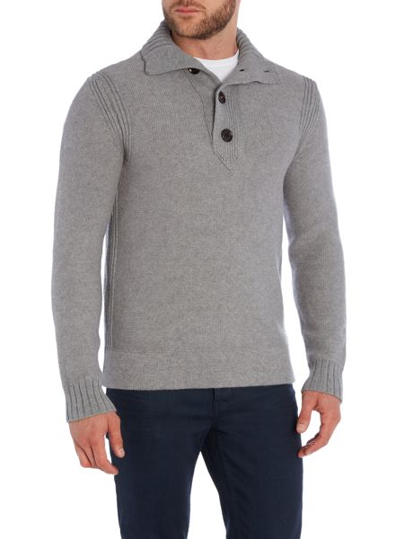 Hugo Boss Ribbed Funnel Neck Button Jumpers