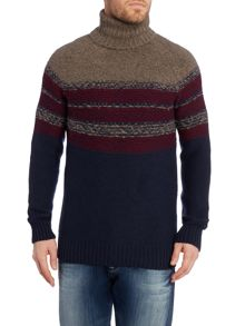Hugo Boss Stripe Roll Neck Pull Over Jumpers