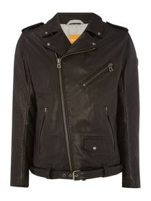 Casual Full Zip Leather Jacket