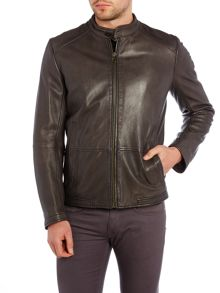 Hugo Boss Zip through leather biker jacket