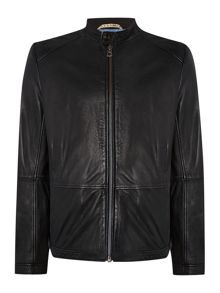 Zip through leather biker jacket
