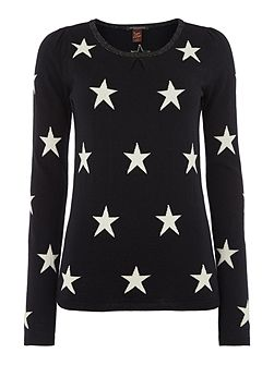 Maison Scotch Basic star print crew neck knit