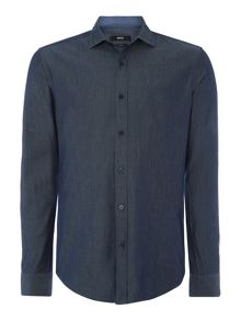 Ridley Plain Slim Fit Long Sleeve Classic Collar