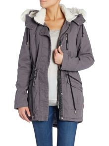 Parka with Detachable Faux Fur Hood