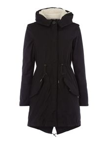 Parka jacket with removable lining