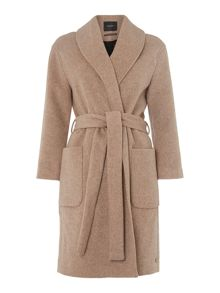 Wool wrapover belted jacket