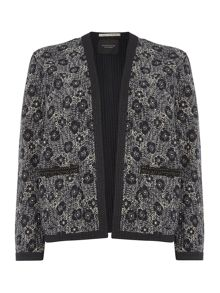 Quilted embellished jacket with print