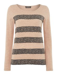 Cashmere mix jumper with lace stripes
