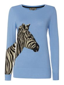 Crew neck zebra jumper