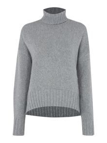 Long sleeve lurex turtleneck knit sweater