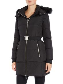 Padded coat with faux faux hood