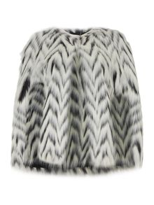 Michael Kors Faux fur chevron cape