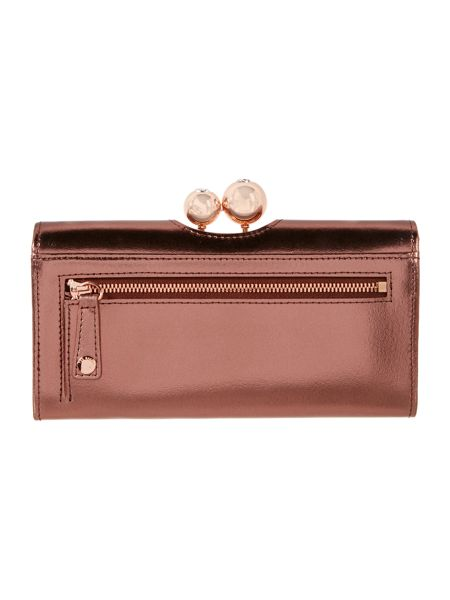 Ted Baker Carlon pink metallic large flap over purse