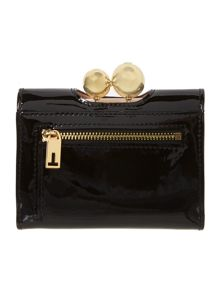 Pooli black small patent flap over purse