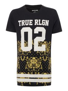 True Religion Regular fit brocade varsity T shirt