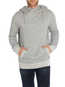 Zip through applique logo hoodie
