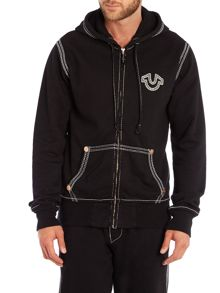 Zip through logo hoodie