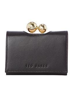 Pooli black small matt flap over purse