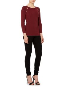 Michael Kors 3/4 sleeve raglan rib knit top