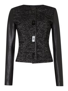 Michael Kors Faux leather tweed combi jacket