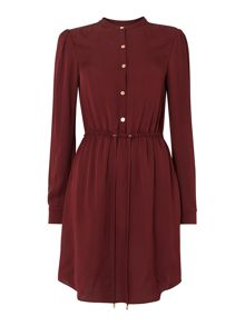 Long sleeve tie waist blouse dress