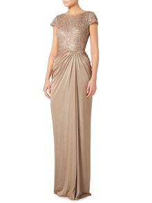 Adrianna Papell Jersey gown with lace top and drape front