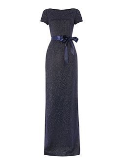 Cap sleeve matelasse gown with ribbon belt