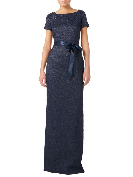 Adrianna Papell Cap sleeve matelasse gown with ribbon belt