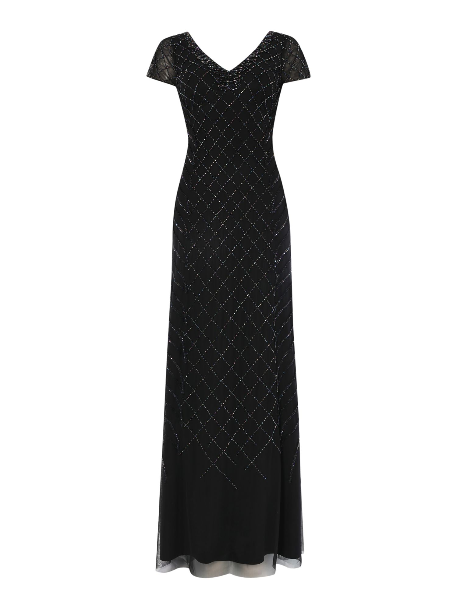 Adrianna Papell Cap sleeve gown with diamond sequin pattern, Black