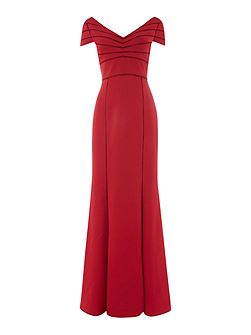 V neck crepe satin gown with cap sleeves