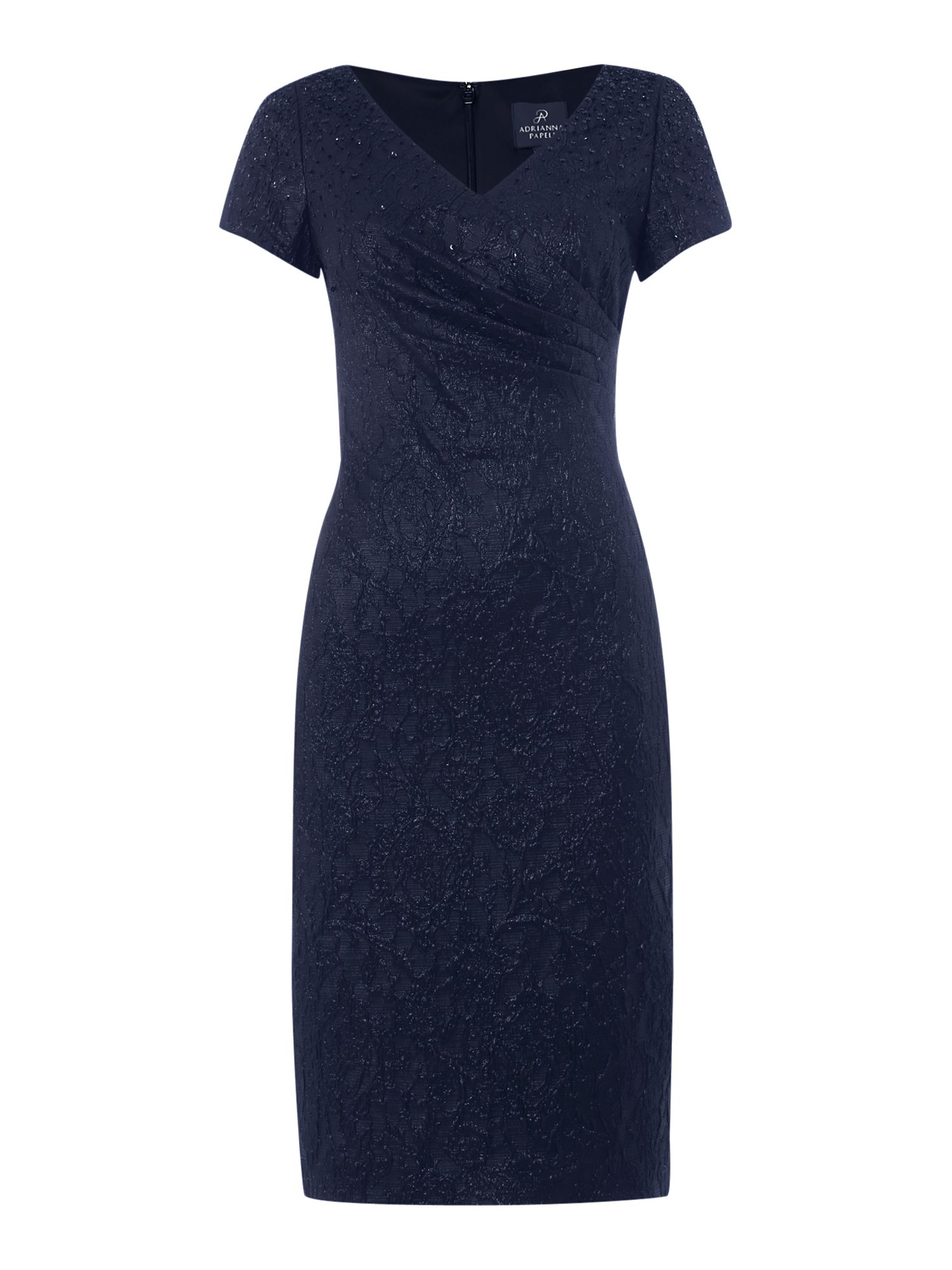 Adrianna Papell Jacquard dress with pleated wrap front Navy