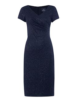 Jacquard dress with pleated wrap front