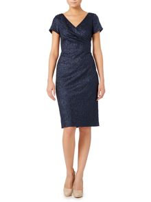 Adrianna Papell Jacquard dress with pleated wrap front