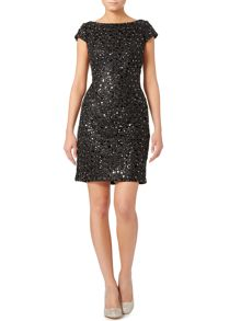 Adrianna Papell Cap sleeve all over sequin shift dress