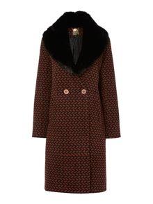 Deco print detachable collar coat