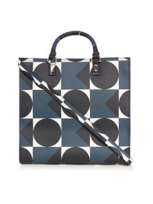 Spot square navy willow tote cross body bag