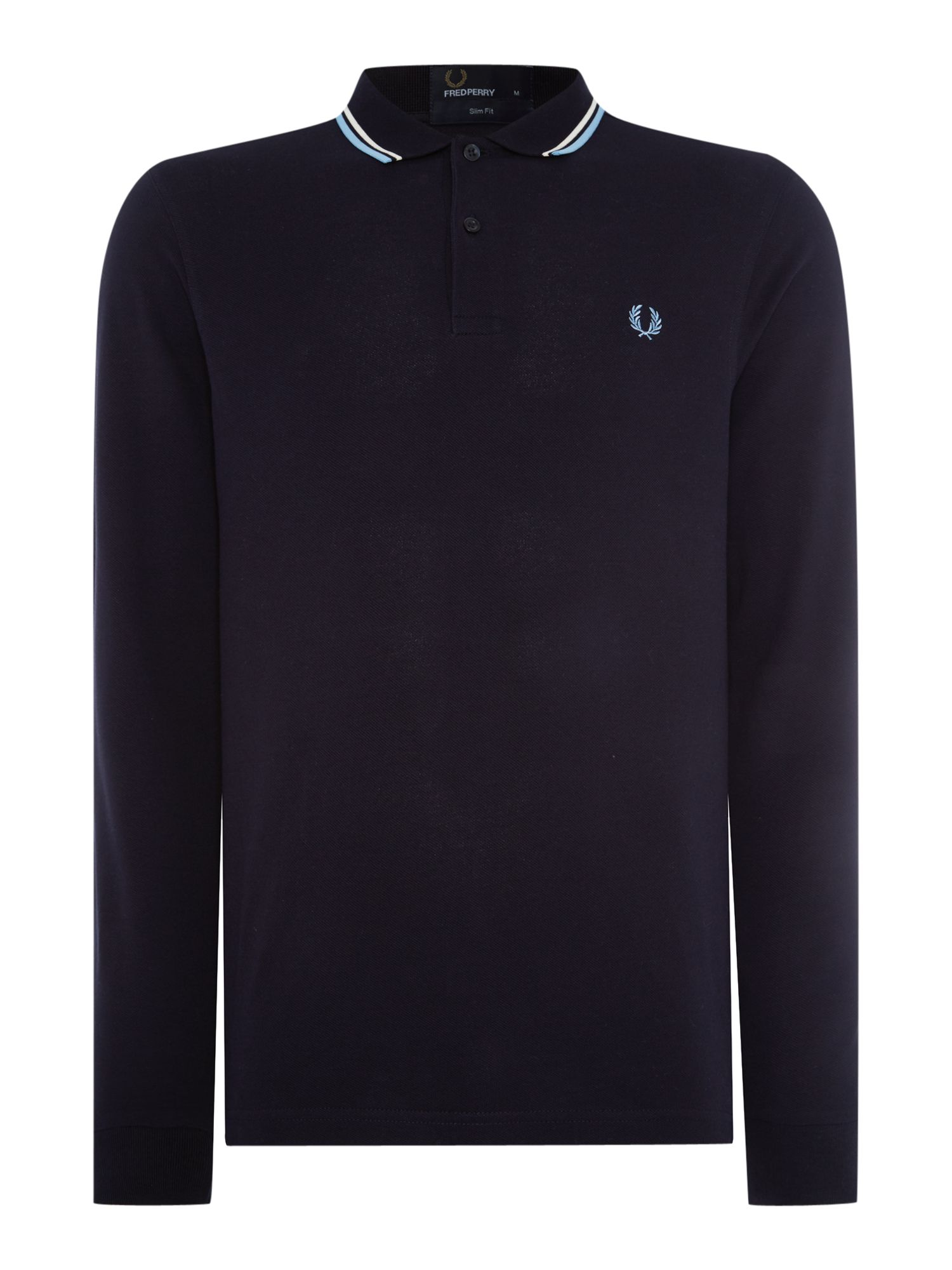 Mens Fred Perry Long sleeved twin tipped polo shirt Dark Navy