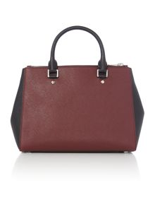 Sutton burgundy double zip tote bag
