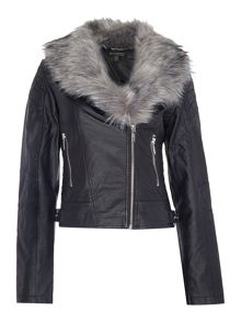 Michelle Keegan PU Detachable Fur Collar Jacket