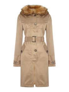 Fur Collar Belted Mac Coat