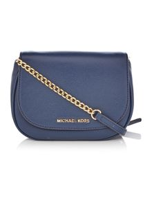 Michael Kors Bedford navy fold over cross body bag