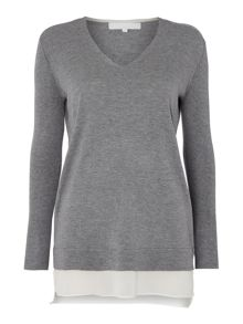 Gray & Willow Disa chiffon hem knit