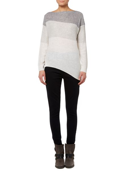 Gray & Willow Angla lofty striped ombre asymmetric knit jumper