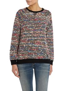 Long sleeve speckled colourful sweat top