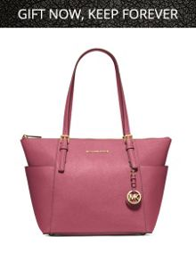 Jetset pink tulip zip top tote bag